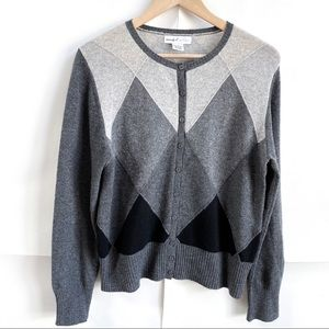 Wendy Bellissimo Gray Colorblock Cashmere Cardigan